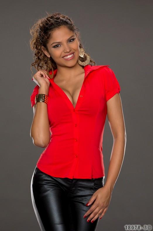 kurzarm bluse s m l xl stretch tailliert weiss schwarz rot. Black Bedroom Furniture Sets. Home Design Ideas